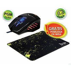 MS MISSLE PGM gaming miš + MS MP-X3ME 2 gaming podloga za mi