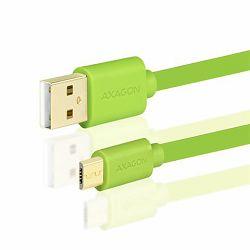 AXAGON BUMM-AM15QG, Kabel USB 2.0 MicroUSB<>USB Type-A,Zelen