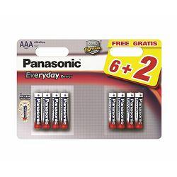 PANASONIC baterije LR03EPS/8BW 6+2F, Alkaline Everyday Power