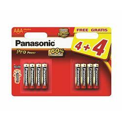 PANASONIC baterije LR03PPG/8BW 4+4F Alkaline Pro Power