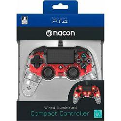 GAME PS4 Bigben PS4 Controller žični prozirno-crveni