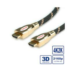 Roline GOLD HDMI Ultra HD kabel sa mrežom, HDMI M - HDMI M, 1.0m