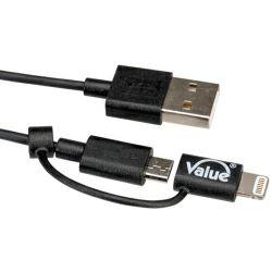 Roline VALUE USB 2.0 kabel TIP A 8-pin + Micro B (M/M) za punjenje i prijenos podataka,1.0m