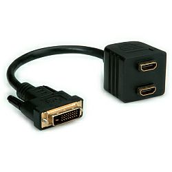 Roline VALUE Video distributor DVI(M)-2×HDMI(F), 0.25m