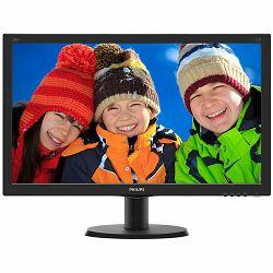 Monitor Philips LED V-Line 240V5QDAB (23.8, IPS-ADS, 16.9, 1920x1080, 1000:1, 5ms, 10M:1, 250 cd/m2, VGA, DVI, HDMI, VESA) Black, 2y