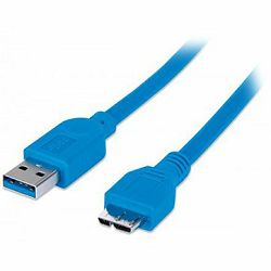 MANHATTAN Cable, SuperSpeed USB 3.0, A-Male/Micro B-Male, 2.0m, Blue, Polybag