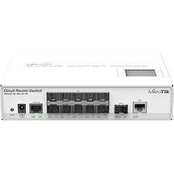 Mikrotik Cloud Router Switch 212-1G-10S-1S+IN, Atheros QC8519 400Mhz CPU, 64MB RAM, 1xGigabit LAN, 10xSFP cages,1xSFP+ cage, RouterOS L5, LCD panel, desktop kučište, PSU