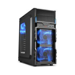 Kućište Sharkoon VG5-W Midi Tower ATX kućište, prozirna bočna stranica, bez napajanja, bijeli LED, crno
