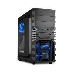 Kućište Sharkoon VG4-W Midi Tower ATX kućište, prozirna bočna stranica, bez napajanja, plavi LED, crno