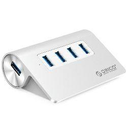 Orico 4-portni USB3.0 hub, Aluminium, srebrni