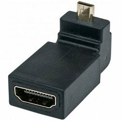 MANHATTAN HDMI Adaptor, A-Female/Micro-A-Male, Up Angle, Black, Polybag