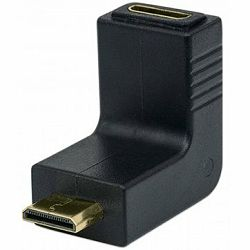MH HDMI Adaptor, Mini-A-Female/Mini-A-Male, Down Angle, Black, Polybag