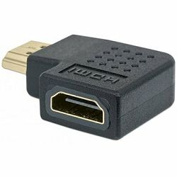 MH HDMI Adaptor, A-Female/A-Male, Right Angle, Black, Polybag