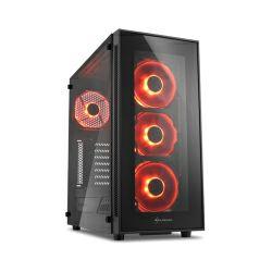 Kućište Sharkoon TG5 Midi Tower ATX kućište, bez napajanja, prozirna prednja/bočna stranica, crveni LED, crno