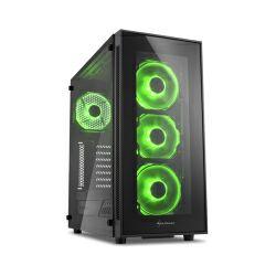 Kućište Sharkoon TG5 Midi Tower ATX kućište, bez napajanja, prozirna prednja/bočna stranica, zeleni LED, crno