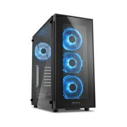Kućište Sharkoon TG5 Midi Tower ATX kućište, bez napajanja, prozirna prednja/bočna stranica, plavi LED, crno