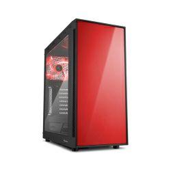 Sharkoon AM5 Window Midi Tower ATX kućište, bez napajanja, prozirna bočna stranica, crveni LED, crno
