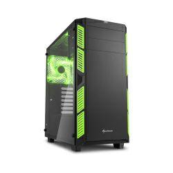 Sharkoon AI7000 Midi Tower ATX kućište, bez napajanja, prozirna bočna stranica, zeleni LED, crno