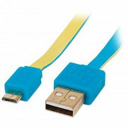 MANHATTAN Flat Cable, USB 2.0, A-Male/Micro B-Male, 1,8 m, blue/yellow, Blister