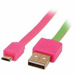 MANHATTAN Flat Cable, USB 2.0, A-Male/Micro B-Male, 1,8 m, pink/green, Blister