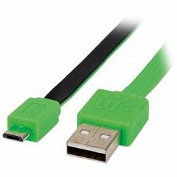 MANHATTAN Flat Cable, USB 2.0, A-Male/Micro B-Male, 1,8 m, green/black, Blister
