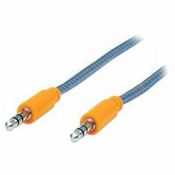 MANHATTAN Braided Audio Cable, Stereo 3.5mm , Male/Male, 1.8m, Orange/Blue, Blister