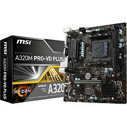 Matična ploča MSI A320M PRO-VD PLUS, S. AM4, Ryzen, DDR4/3200(OC), PCIe, VGA/DVI-D, S-ATA3, RAID, G-LAN, USB3.1, mATX