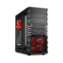 Sharkoon VG4-W Midi Tower ATX kućište, prozirna bočna stranica, bez napajanja, crveni LED, crno