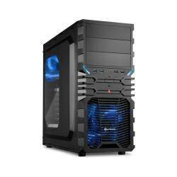 Sharkoon VG4-W Midi Tower ATX kućište, prozirna bočna stranica, bez napajanja, plavi LED, crno