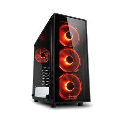 Kućište Sharkoon TG4 Midi Tower ATX kućište, bez napajanja, prozirna prednja/bočna stranica, crveni LED, crno
