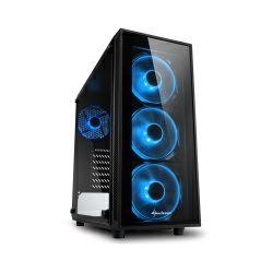 Kućište Sharkoon TG4 Midi Tower ATX kućište, bez napajanja, prozirna prednja/bočna stranica, plavi LED, crno
