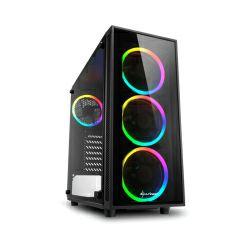 Kućište Sharkoon TG4 RGB Midi Tower ATX kućište, bez napajanja, prozirna prednja/bočna stranica, crno