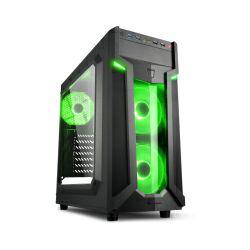 Kućište Sharkoon VG6-W Midi Tower ATX kućište, bez napajanja, prozirna prednja/bočna stranica, zeleni LED, crno