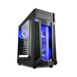Kućište Sharkoon VG6-W Midi Tower ATX kućište, bez napajanja, prozirna prednja/bočna stranica, plavi LED, crno