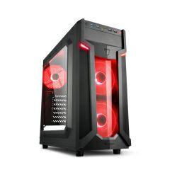 Kućište Sharkoon VG6-W Midi Tower ATX kućište, bez napajanja, prozirna prednja/bočna stranica, crveni LED, crno