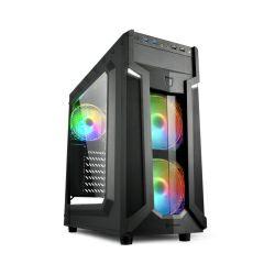 Kućište Sharkoon VG6-W RGB Midi Tower ATX kućište, bez napajanja, prozirna prednja/bočna stranica, crno