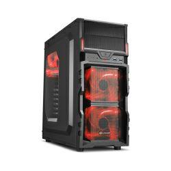 Kućište Sharkoon VG5-W Midi Tower ATX kućište, prozirna bočna stranica, bez napajanja, crveni LED, crno