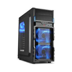 Kućište Sharkoon VG5-W Midi Tower ATX kućište, prozirna bočna stranica, bez napajanja, plavi LED, crno