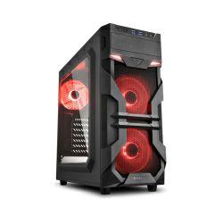 Kućište Sharkoon VG7-W Midi Tower ATX kućište, bez napajanja, prozirna prednja/bočna stranica, crveni LED, crno