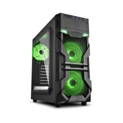Kućište Sharkoon VG7-W Midi Tower ATX kućište, bez napajanja, prozirna prednja/bočna stranica, zeleni LED, crno