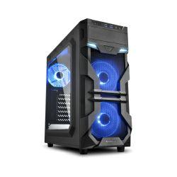 Kućište Sharkoon VG7-W Midi Tower ATX kućište, bez napajanja, prozirna prednja/bočna stranica, plavi LED, crno