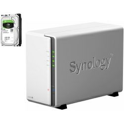 Synology DS220j DiskStation 2-bay NAS server + 2× Seagate Guardian 8TB HDD (ST8000DM004)
