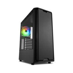 Kučište Sharkoon SK3 RGB Midi Tower ATX , prozirna bočna stranica, prednji/stražnji ventilatori 2×120mmi, bez napajanja, crno