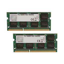 Memorija SO-DIMM PC-12800, 16 GB, G.SKILL F3-1600C10D-16GSQ, DDR3 1600 MHz, kit 2x8GB