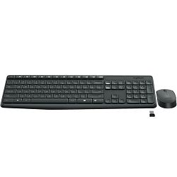 Tipkovnica + miš LOGITECH MK235 Wireless Desktop, bežična, siva, USB