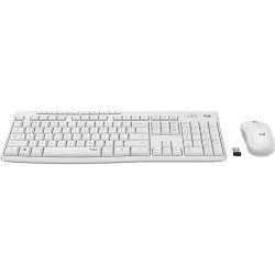 Tipkovnica + miš LOGITECH MK295 Silent Wireless Combo, bežična, bijela, USB