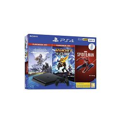 Igraća konzola SONY PlayStation 4, 500GB, Chassis F, crna, Marvel's Spiderman + Horizon Zero Dawn Complete Edition + Ratchet and Clank Hits