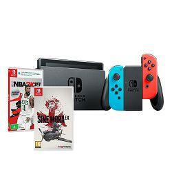 Igraća konzola NINTENDO Switch, Red & Blue Joy-Con HAD + NBA 2K18 + Sine Mora EX