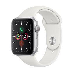 Pametni sat APPLE Watch Series 5 GPS, 44mm, srebrni aluminijski, bijela sportska narukvica, S/M & M/L