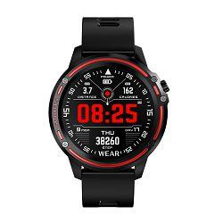 Sportski sat MEANIT Smart watch MX Sport, HR, pametne obavijesti, crno/crvena